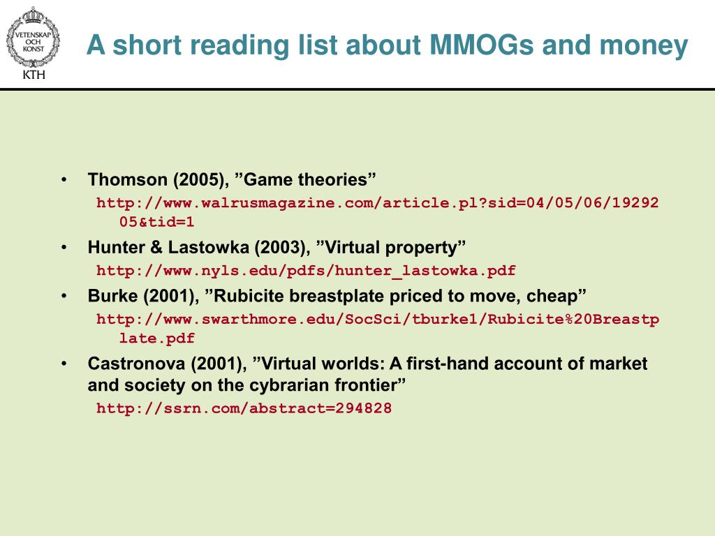 A short reading list about MMOGs and money