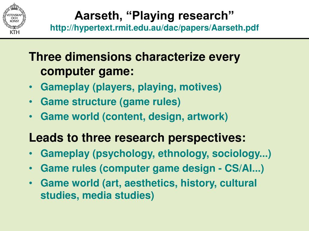 """Aarseth, """"Playing research"""""""