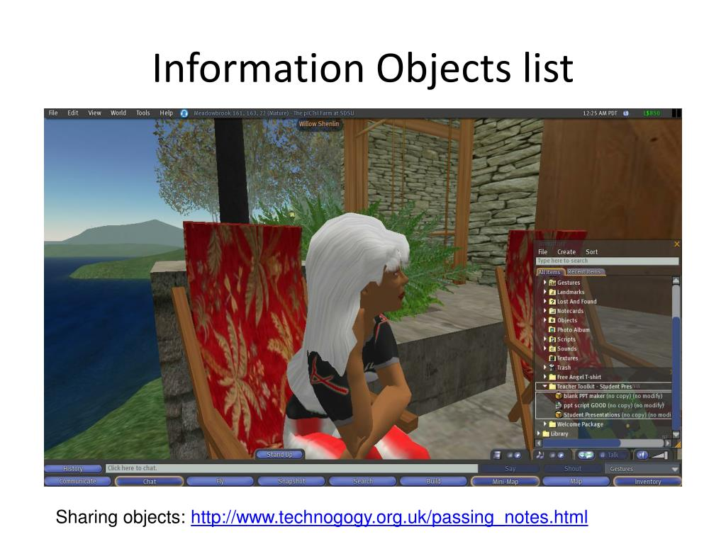 Information Objects list