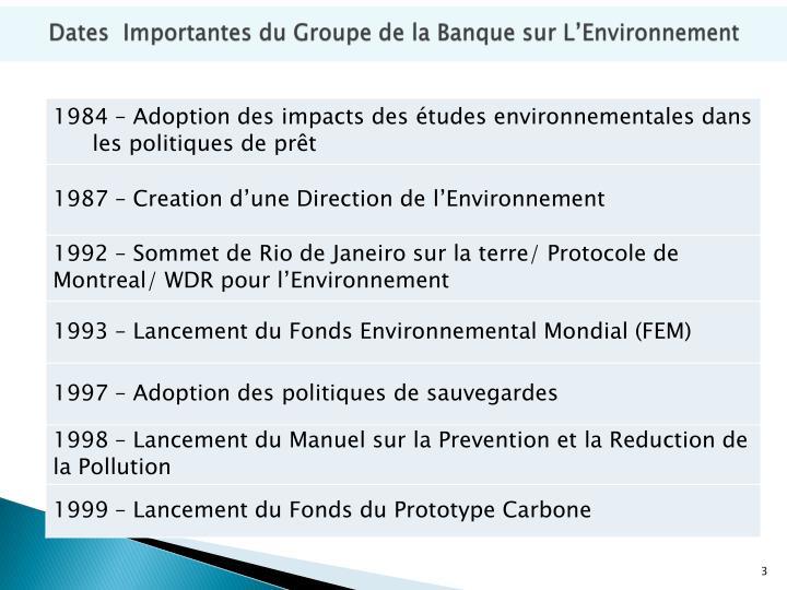 Dates importantes du groupe de la banque sur l environnement