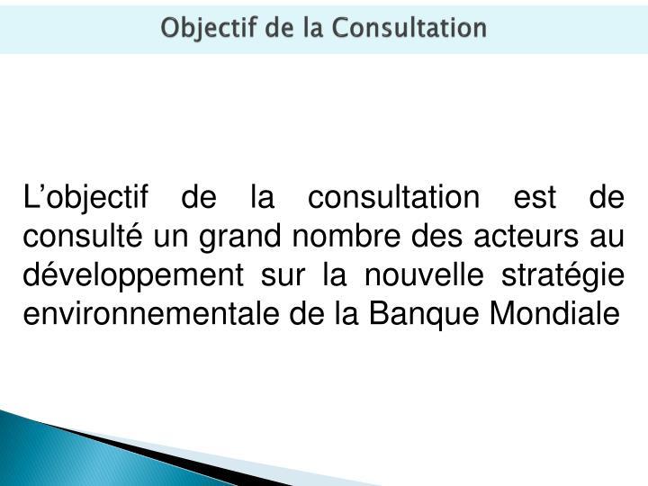 Objectif de la consultation