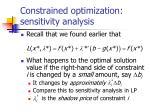 constrained optimization sensitivity analysis