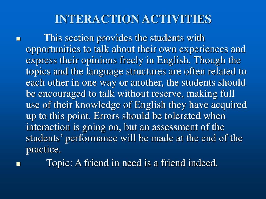 INTERACTION ACTIVITIES