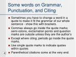 some words on grammar punctuation and citing