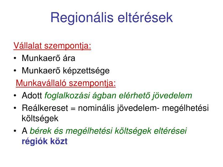 Regionális eltérések