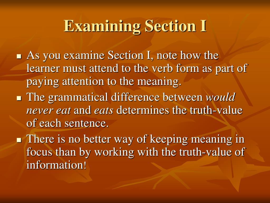 Examining Section I