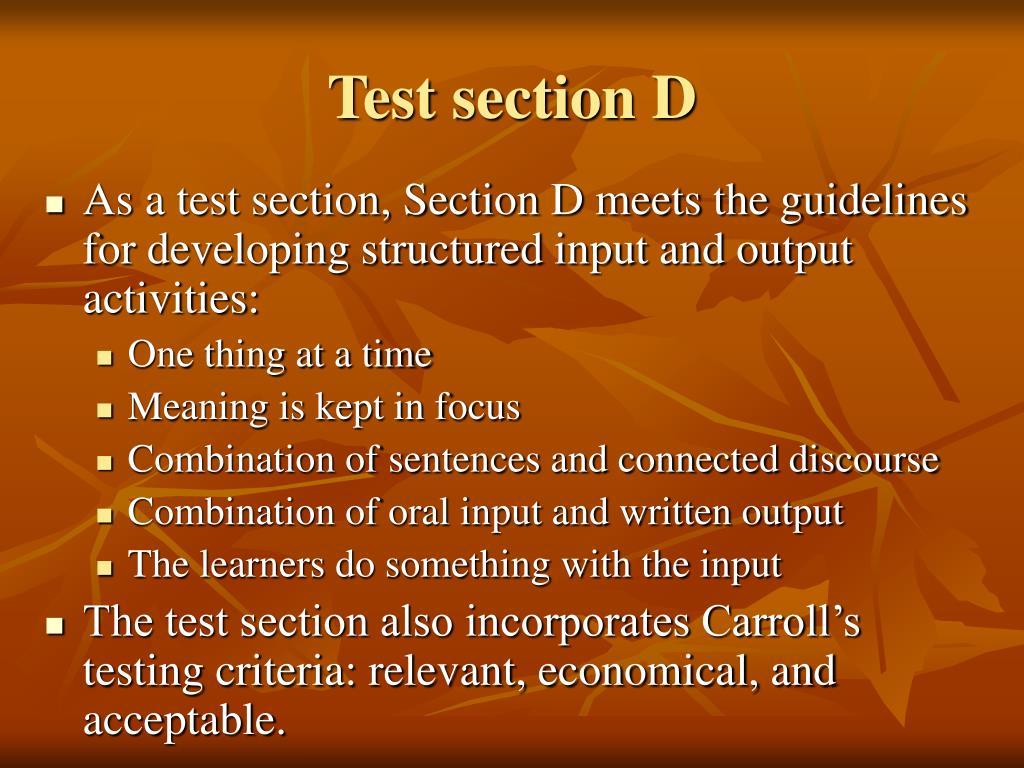 Test section D