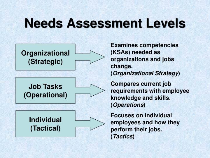 Needs Assessment Levels