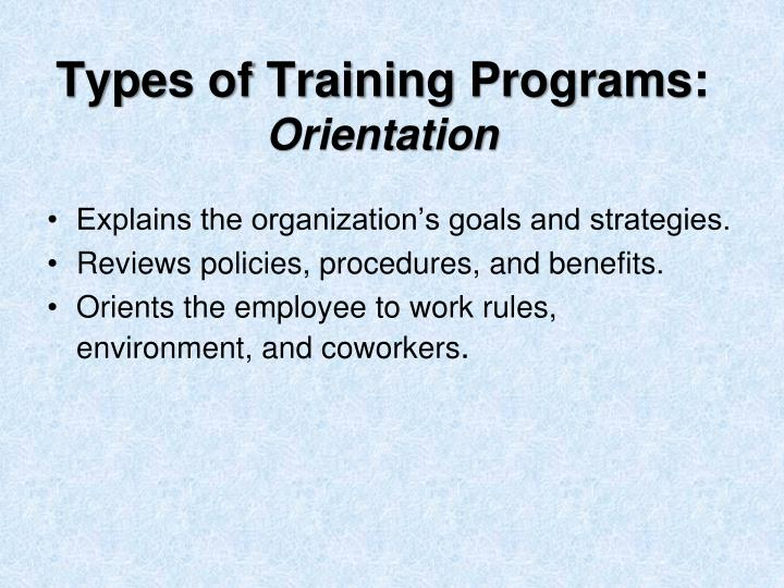 Types of Training Programs: