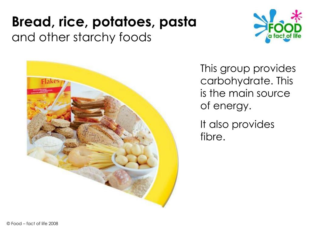 Bread, rice, potatoes, pasta
