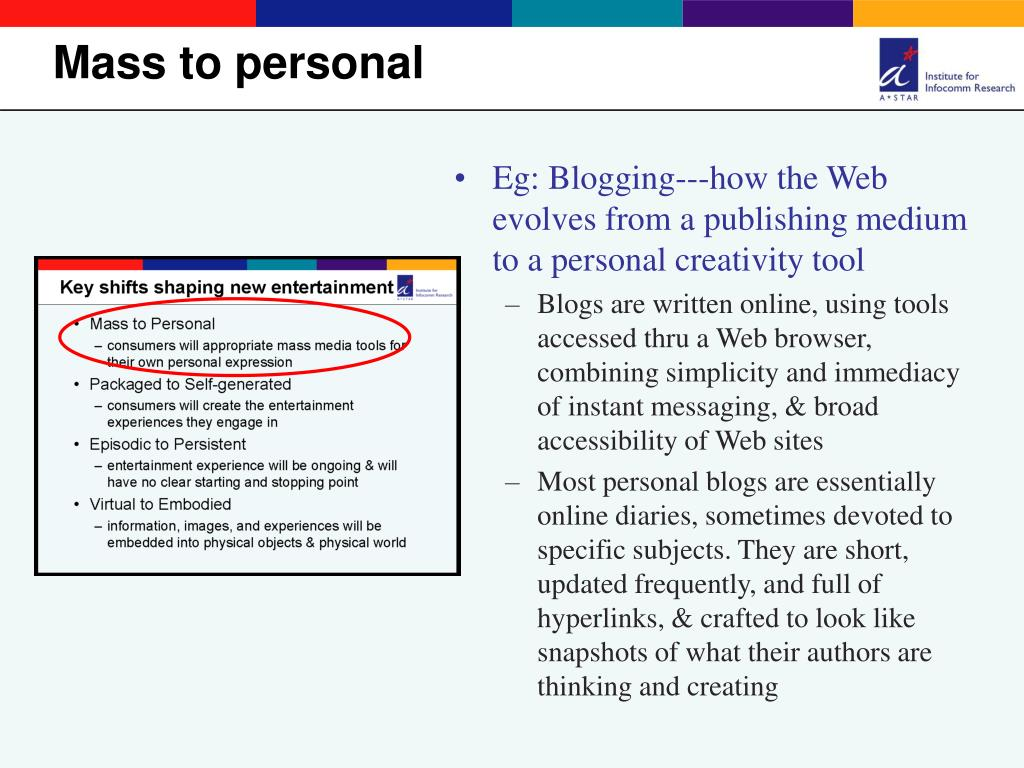 Eg: Blogging---how the Web evolves from a publishing medium to a personal creativity tool