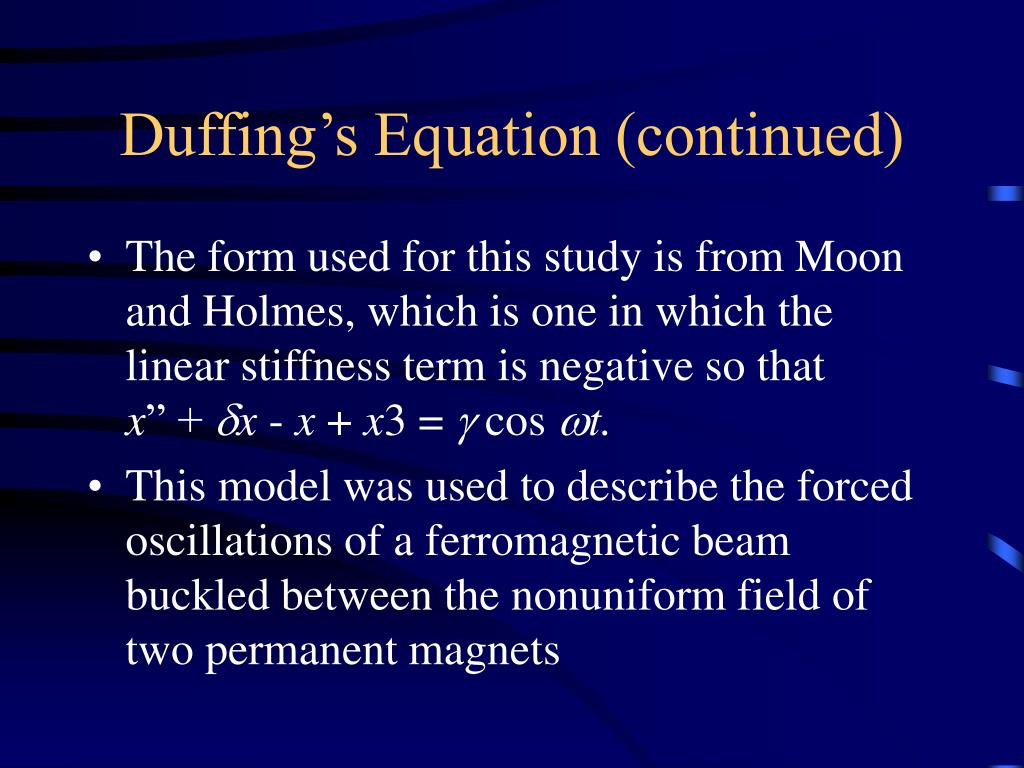 Duffing's Equation (continued)