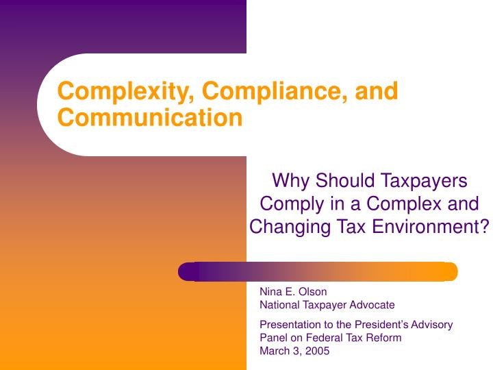 complexity compliance and communication n.