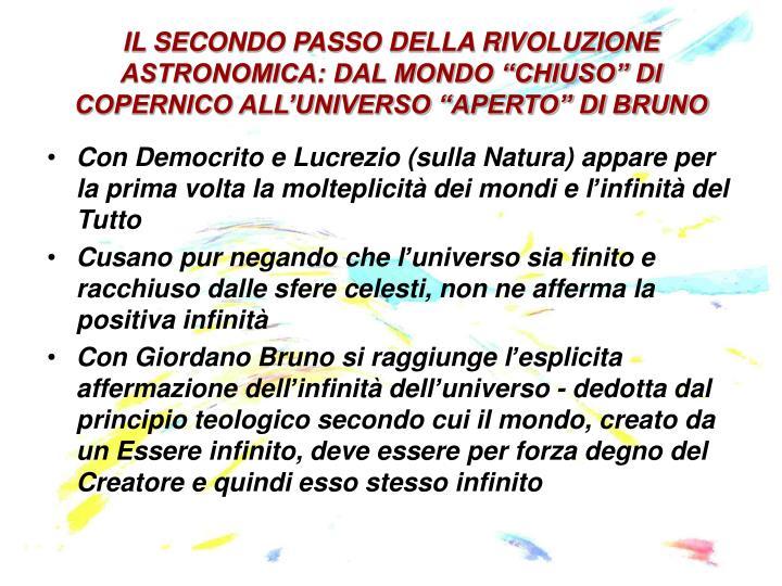 """IL SECONDO PASSO DELLA RIVOLUZIONE ASTRONOMICA: DAL MONDO """"CHIUSO"""" DI COPERNICO ALL'UNIVERSO """"APERTO"""" DI BRUNO"""