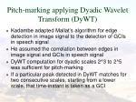 pitch marking applying dyadic wavelet transform dywt