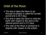 orbit of the moon