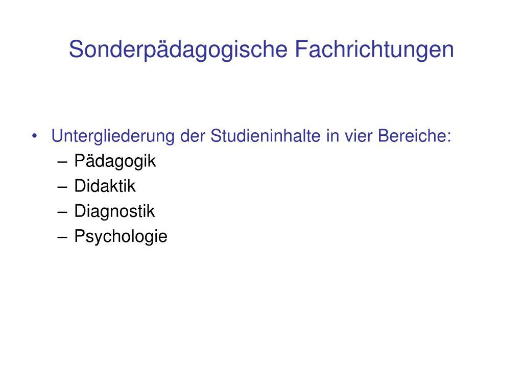Sonderpädagogische Fachrichtungen