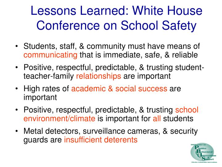 Lessons Learned: White House Conference on School Safety