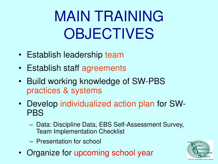 MAIN TRAINING OBJECTIVES