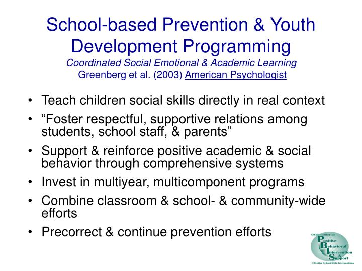 School-based Prevention & Youth Development Programming