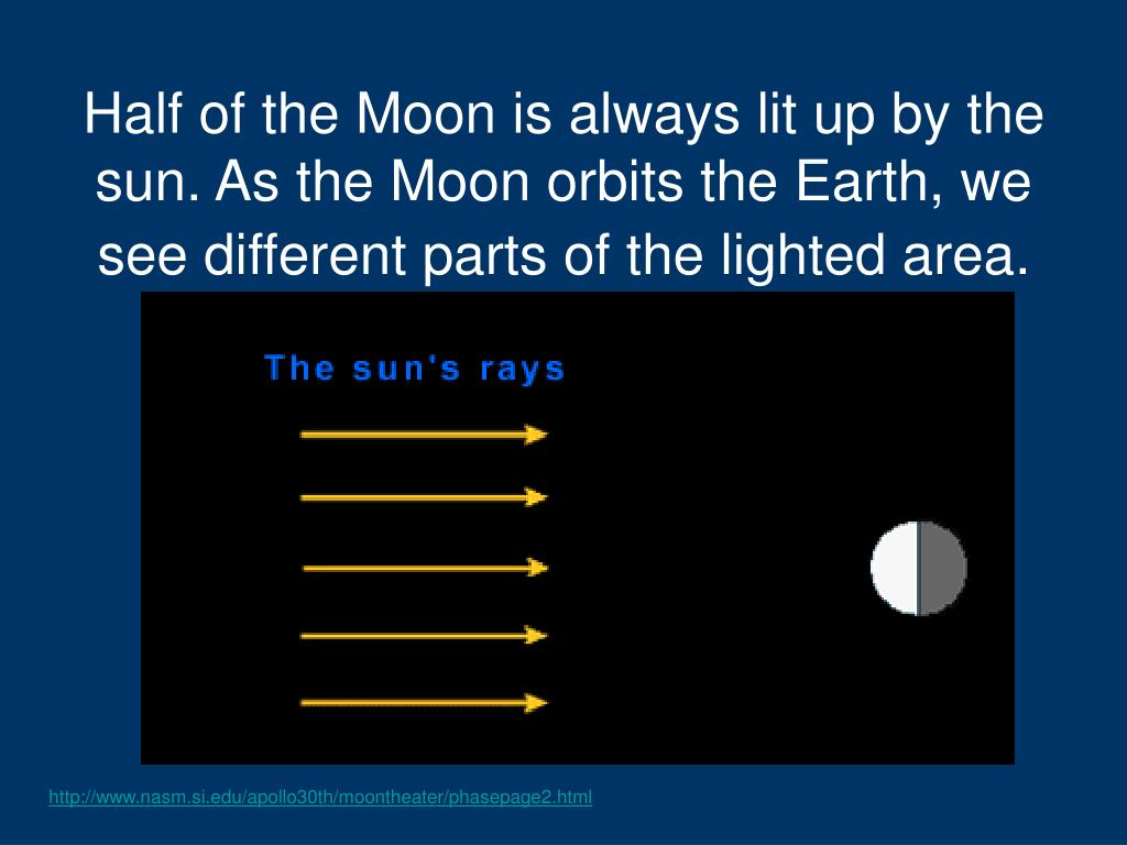 Half of the Moon is always lit up by the sun. As the Moon orbits the Earth, we see different parts of the lighted area.