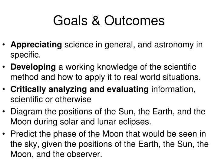 Goals outcomes