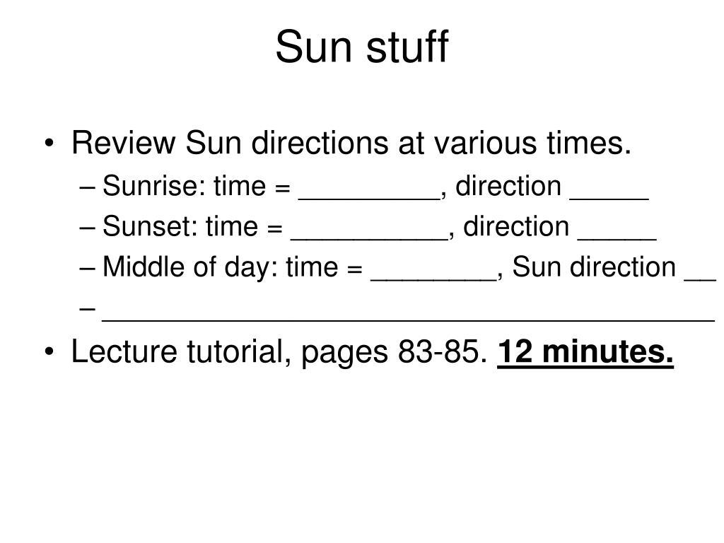 Sun stuff