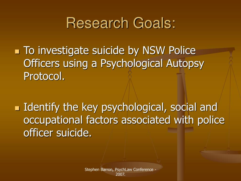 PPT - Police Officer Suicide: NSW Police Force  1999 to 2005