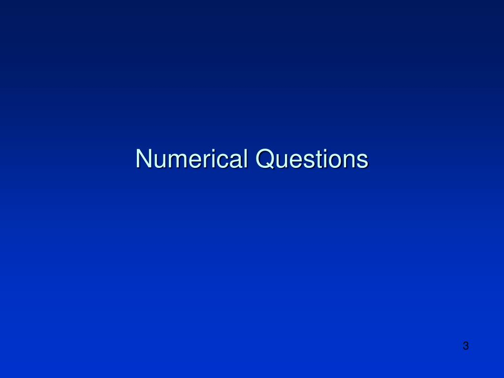 Numerical Questions