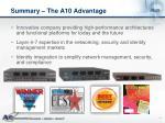 summary the a10 advantage