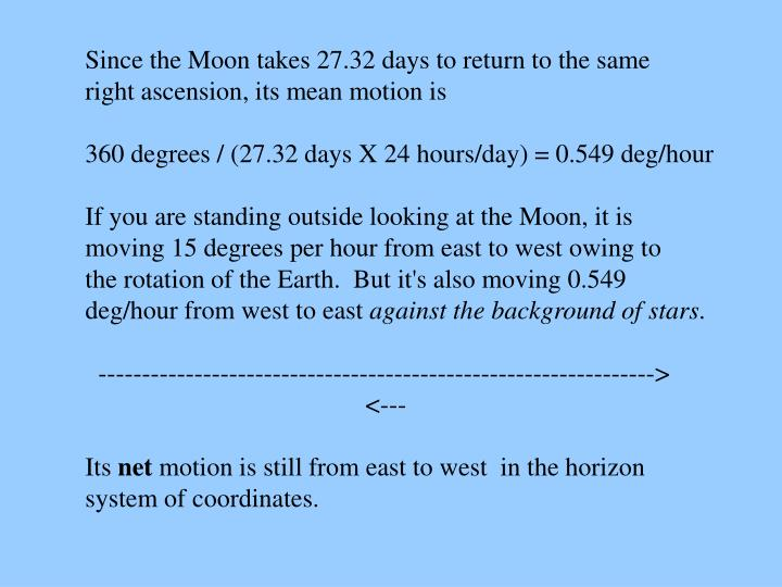 Since the Moon takes 27.32 days to return to the same