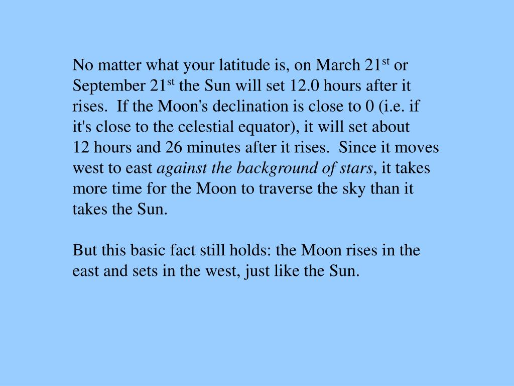 No matter what your latitude is, on March 21