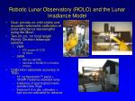 robotic lunar observatory rolo and the lunar irradiance model
