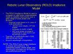 robotic lunar observatory rolo irradiance model