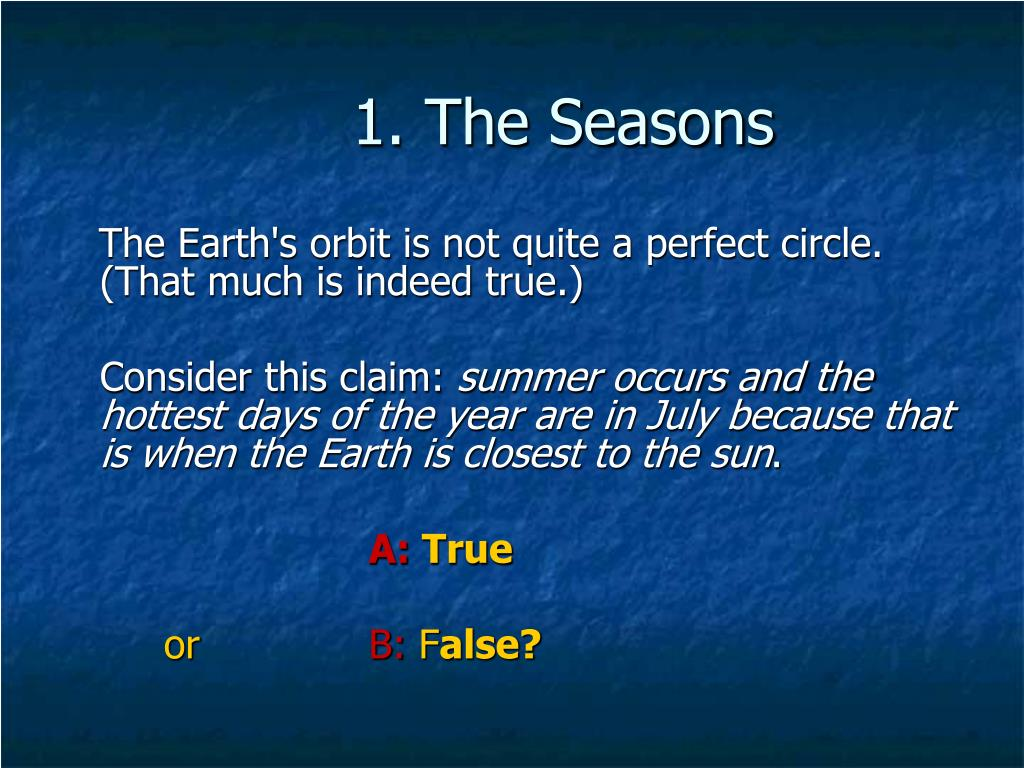 1. The Seasons
