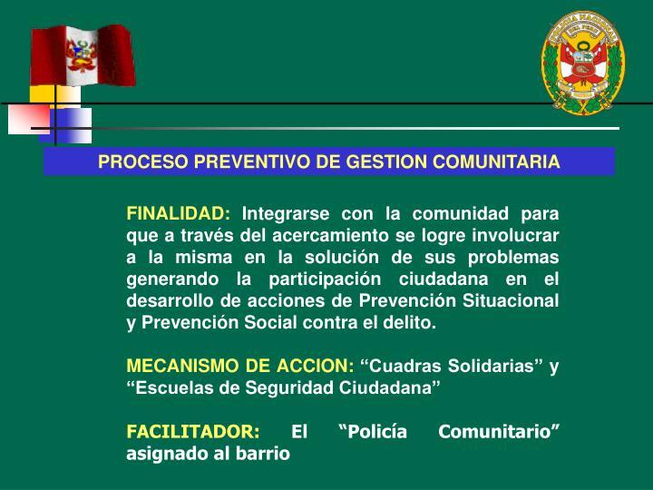 PROCESO PREVENTIVO DE GESTION COMUNITARIA