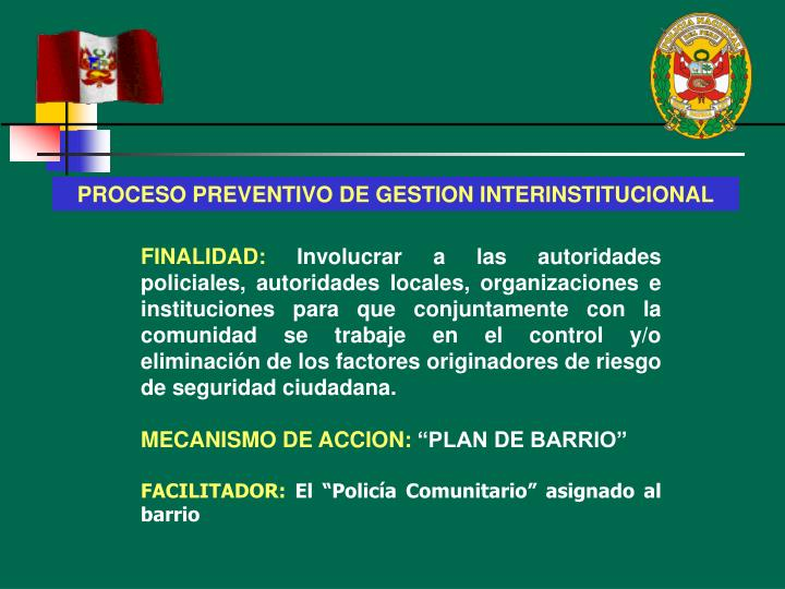 PROCESO PREVENTIVO DE GESTION INTERINSTITUCIONAL