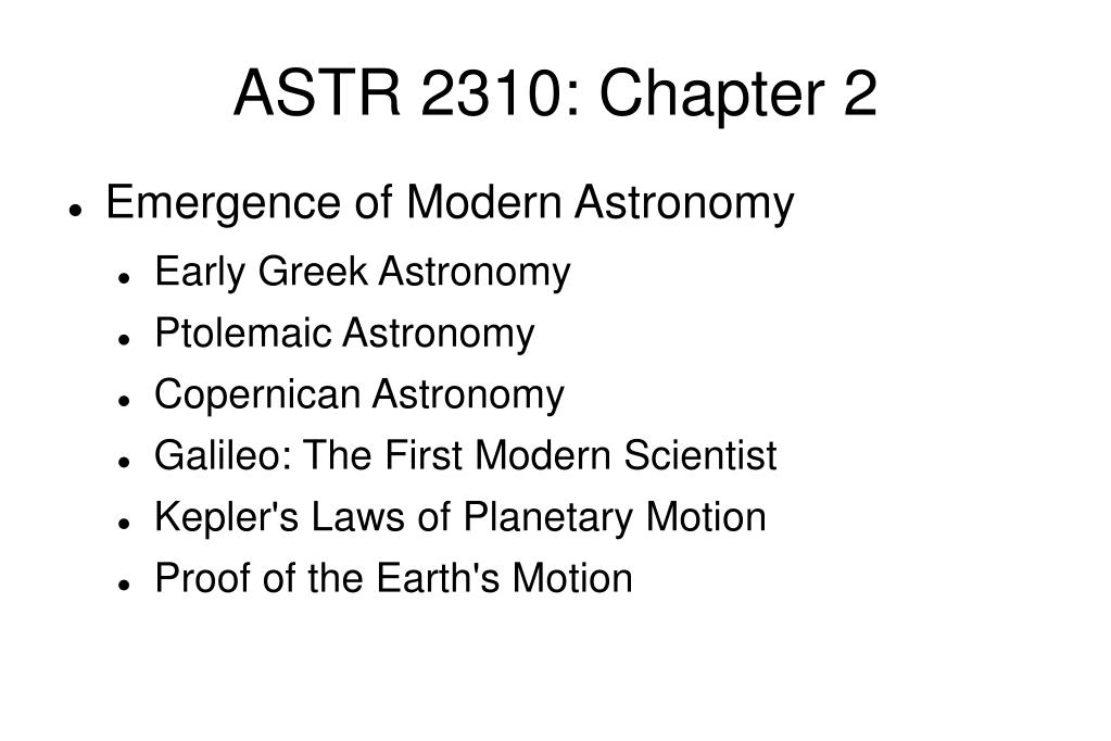 ASTR 2310: Chapter 2