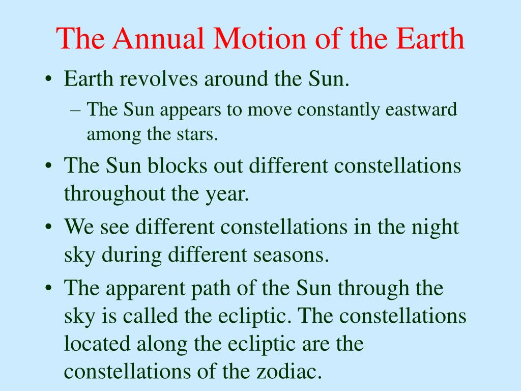 The Annual Motion of the Earth