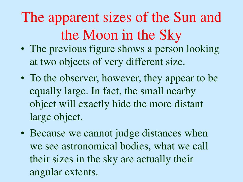 The apparent sizes of the Sun and the Moon in the Sky