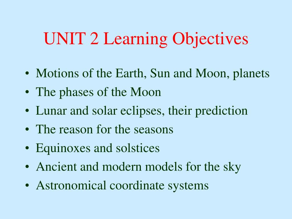 UNIT 2 Learning Objectives