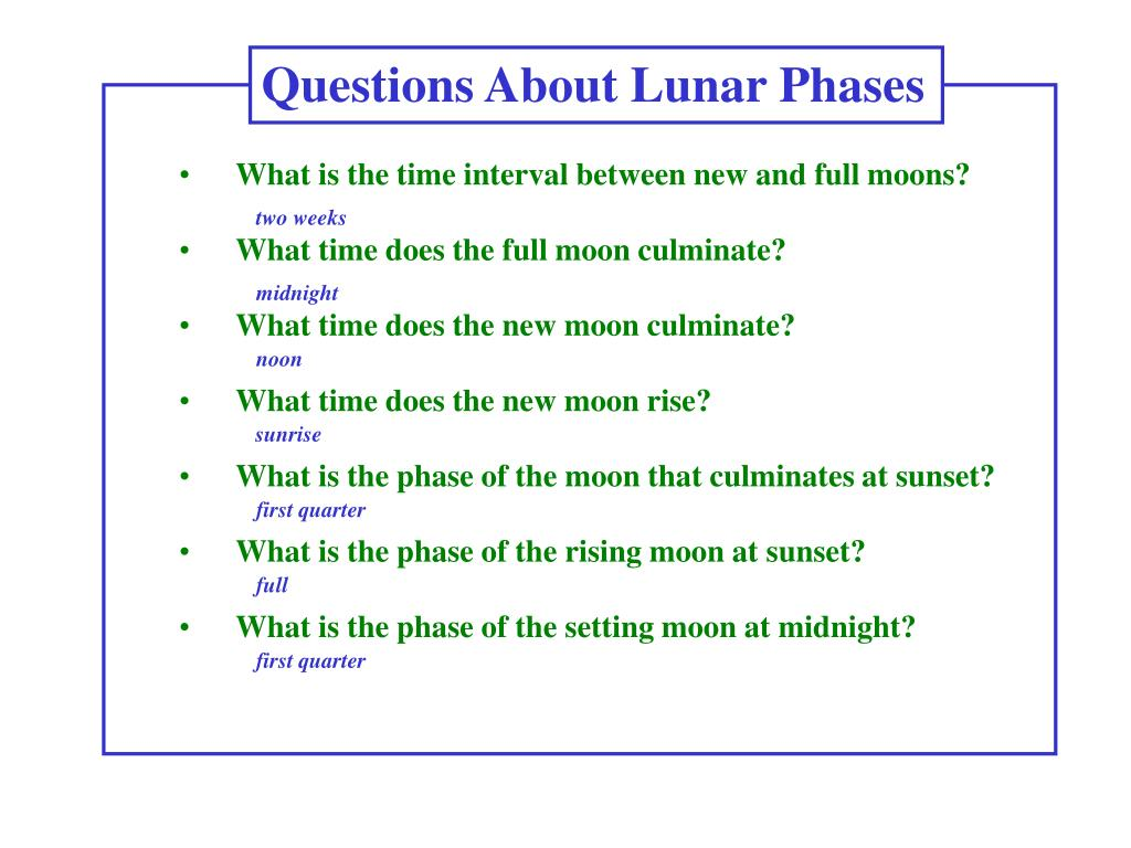 Questions About Lunar Phases