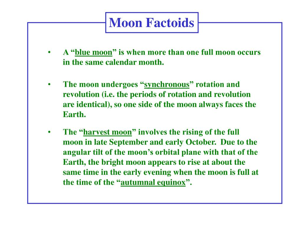 Moon Factoids