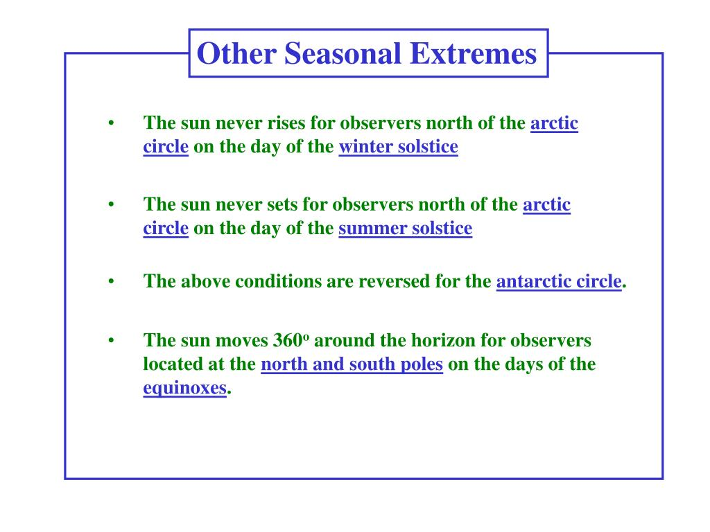 Other Seasonal Extremes