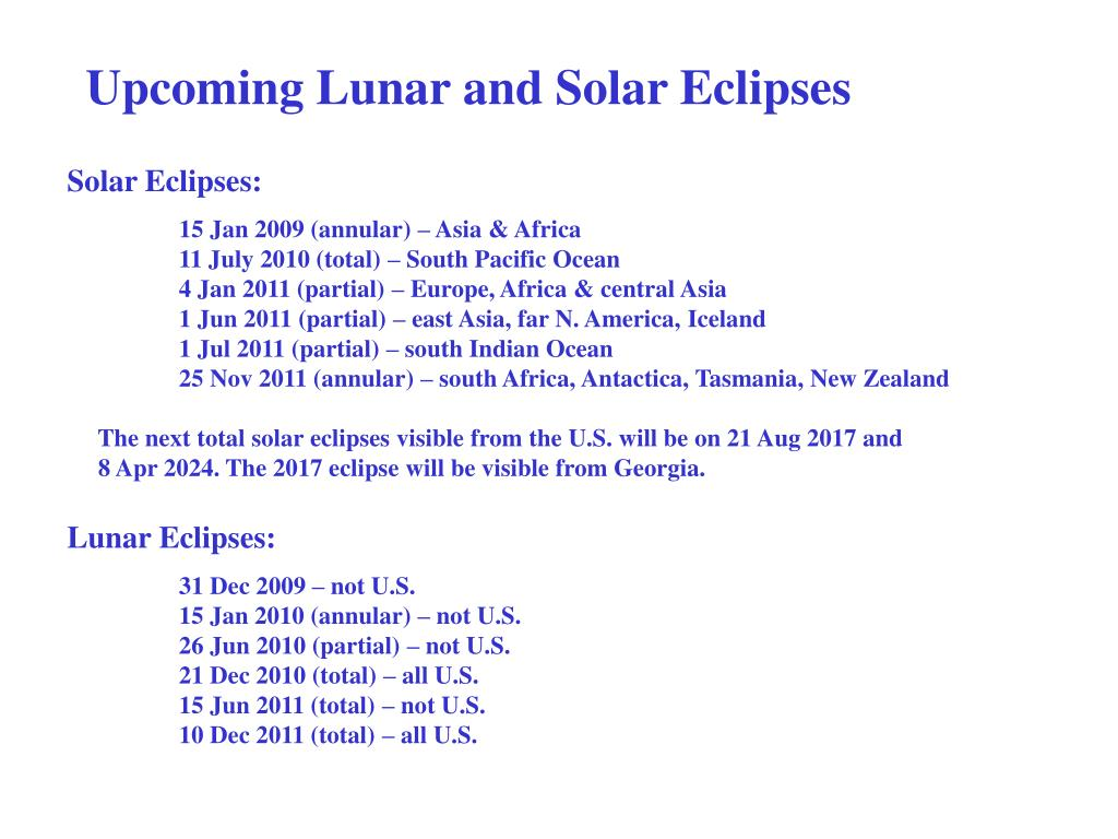 Upcoming Lunar and Solar Eclipses