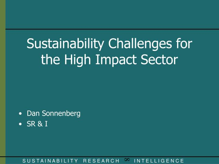 sustainability challenges for the high impact sector n.