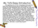 ms toll s essay introduction