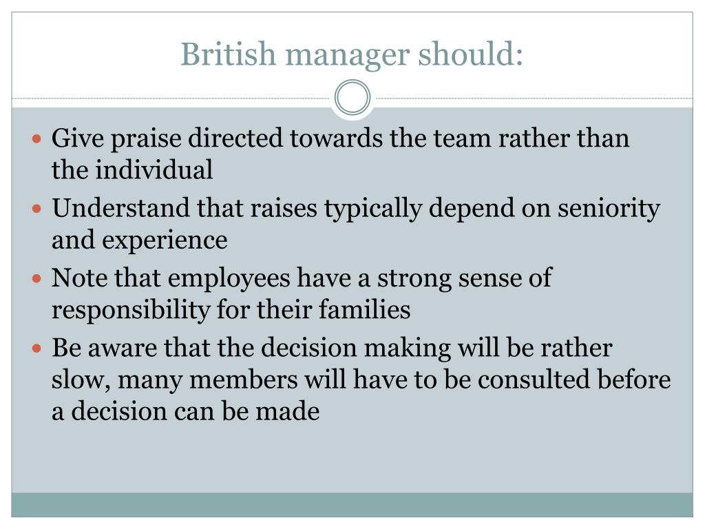 British manager should: