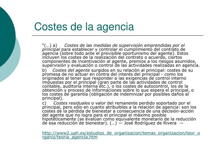 Costes de la agencia