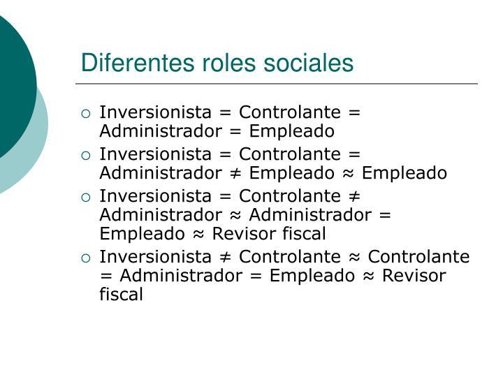 Diferentes roles sociales